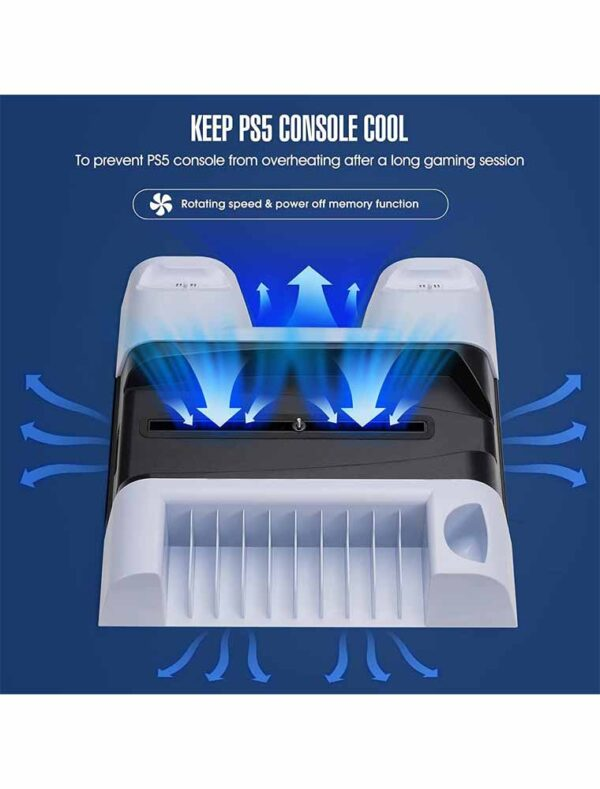 PS5 accessories stand with cooling fan and charging stand