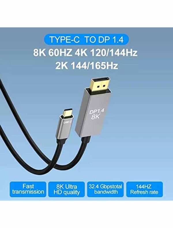 Type C to DP 1.4 Cable